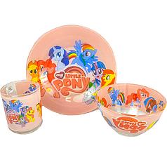 Детский набор стеклянной посуды для кормления Май литл пони 3 предмета Metr+