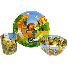 Детский набор стеклянной посуды для кормления Minecraft (Майнкрафт) 3 предмета Metr+
