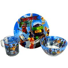 Детский набор стеклянной посуды для кормления Ninjago ( Ниндзяго) 3 предмета Metr+