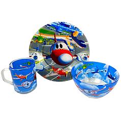 Детский набор стеклянной посуды для кормления Самолёты 3 предмета Metr+