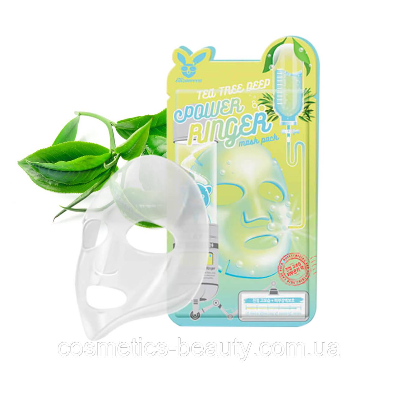 Тканевая маска для проблемной кожи ELIZAVECCA FACE CARE TEA TREE DEEP POWER RINGER MASK PACK.