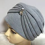 Женская шапка - чалма кашемировая с декоративной жемчужиной  серый, фото 2