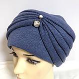 Женская шапка - чалма кашемировая с декоративной жемчужиной  серый, фото 8