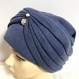 Женская шапка - чалма кашемировая с декоративной жемчужиной  серый, фото 9