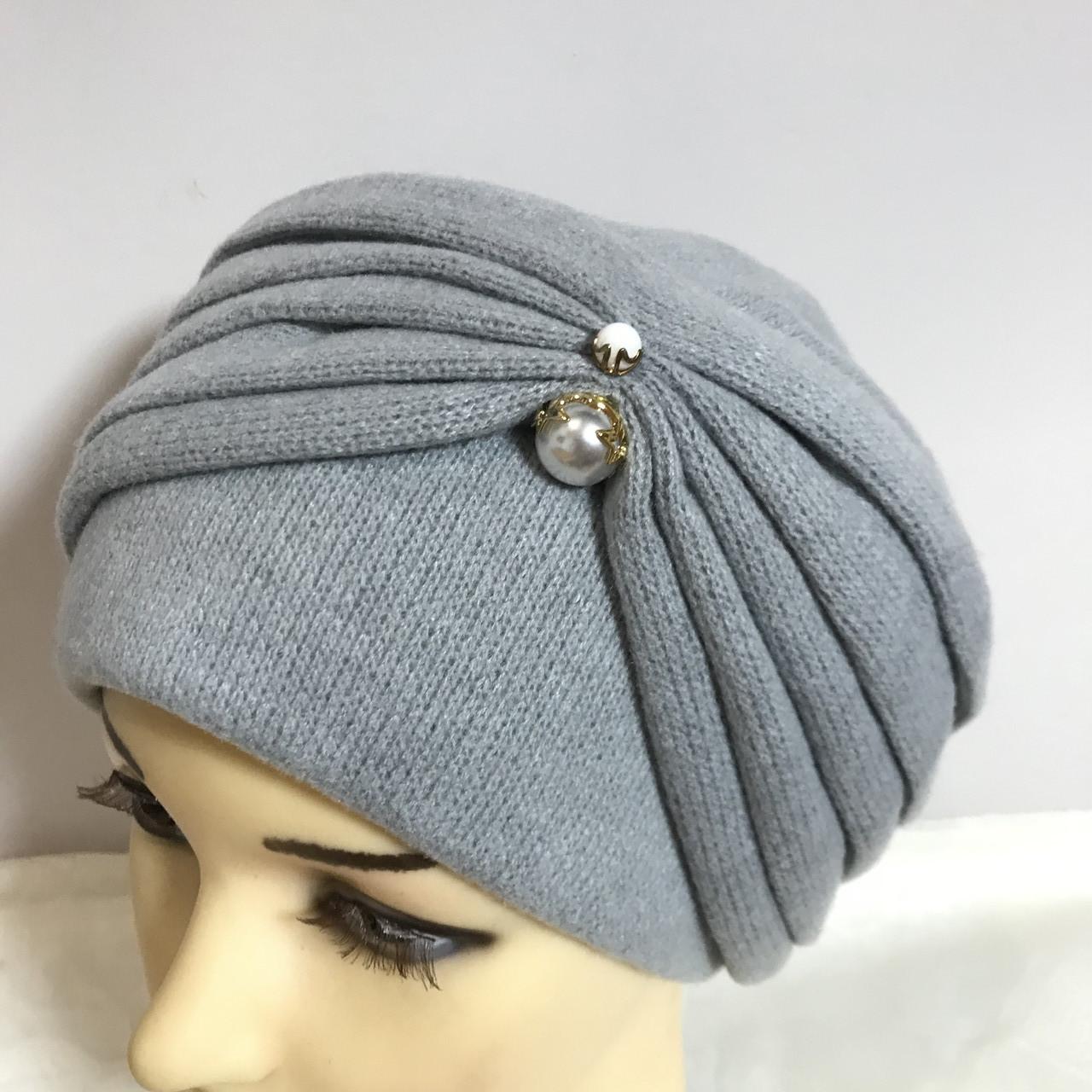 Женская шапка - чалма кашемировая с декоративной жемчужиной  серый