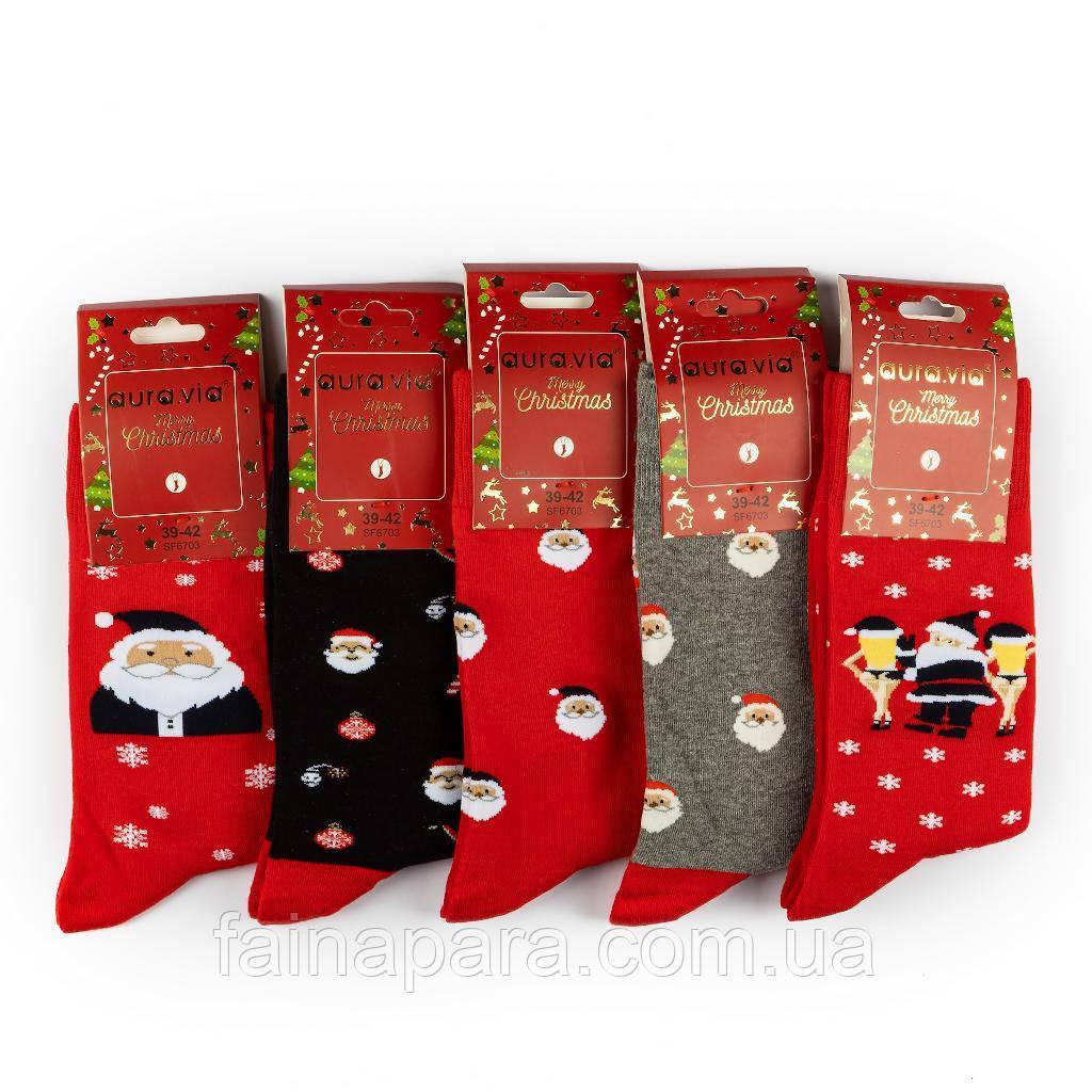 Новогодние мужские носки Aura Via с Санта Клаусом