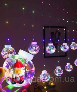 Кульки-роса Дід Мороз 10шт, 3м*0,8м/ перехідник,  мульті