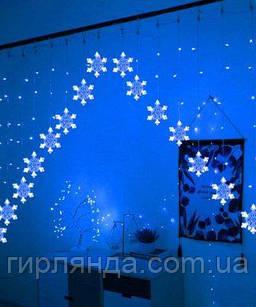 Шторка-арка сніжинка 3м*1м,  синя