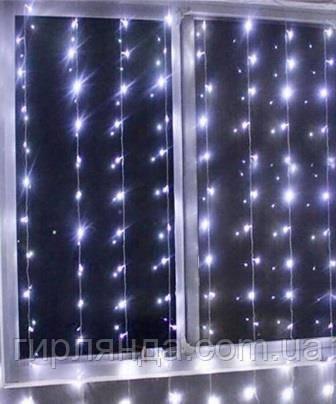 Штора вулична  400 LED 3м*2м, прозор/провід  2,2мм, білий  (статичний режим)