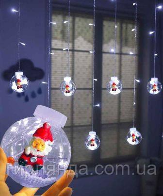 Кульки-роса Дід Мороз 10шт, 3м*0,8м/ перехідник,  білий