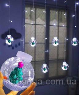 Кульки-роса ЯЛИНКА 10шт, 3м*0,8м/ перехідник,  білий