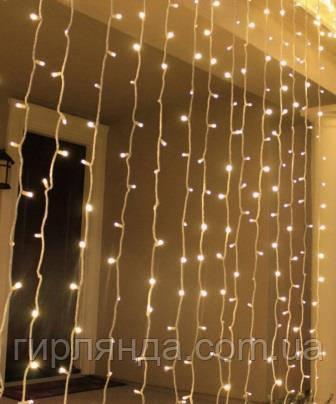 Штора вулична  180 LED 1,8м*1,5м, прозор/провід  2,2мм, білий теплий (статичний режим)