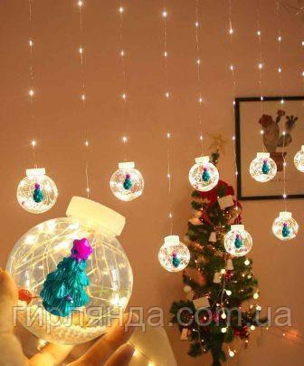 Кульки-роса ЯЛИНКА 10шт, 3м*0,8 м/ перехідник, білий теплий