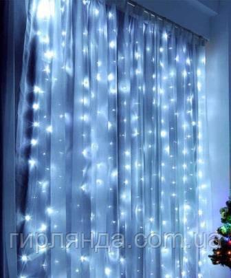 Штора вулична  200 LED 5м*0,6м, прозор/провід  2,2мм, білий  (статичний режим)
