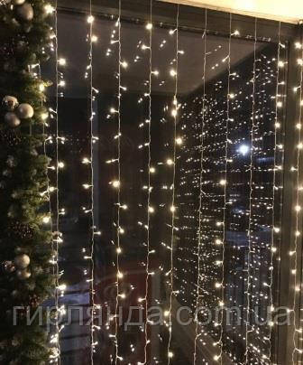 Штора вулична   200 LED 5м*0,6м, прозор/провід  2,2мм, білий теплий (статичний режим)