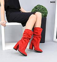 Жіночі замшеві чоботи напівчоботи на підборах 36-40 р червоний