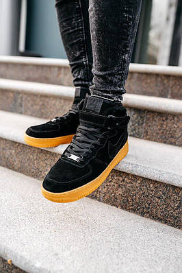 Кроссовки мужские зимние Nike Air Force 1 High Black (мех)