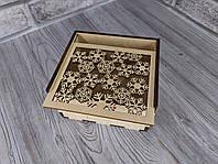 Деревянная новогодняя коробка для подарка 12*14*7,5см