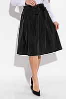 Юбка женская миди солнце складки,высокая талия, костюмка шелк черный M