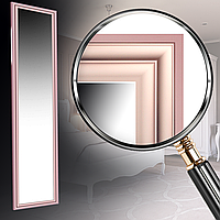 Зеркало в раме на стену для салона дома офиса в спальню настенное Pink small glossy 45х167 см розовый