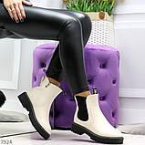 Стильные молодежные бежевые зимние женские ботинки челси, фото 2