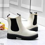 Стильные молодежные бежевые зимние женские ботинки челси, фото 3
