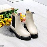Стильные молодежные бежевые зимние женские ботинки челси, фото 4