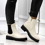 Стильные молодежные бежевые зимние женские ботинки челси, фото 6