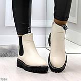Стильные молодежные бежевые зимние женские ботинки челси, фото 7