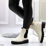 Стильные молодежные бежевые зимние женские ботинки челси, фото 8