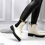 Стильные молодежные бежевые зимние женские ботинки челси, фото 9