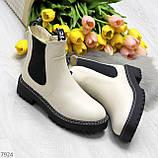 Стильные молодежные бежевые зимние женские ботинки челси, фото 10