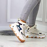 Бежевые зимние женские кроссовки с рефлективными светоотражающими вставками, фото 2