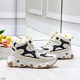 Бежевые зимние женские кроссовки с рефлективными светоотражающими вставками, фото 3
