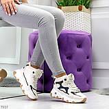 Бежевые зимние женские кроссовки с рефлективными светоотражающими вставками, фото 4