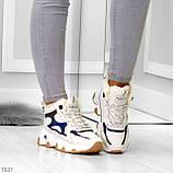 Бежевые зимние женские кроссовки с рефлективными светоотражающими вставками, фото 6