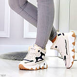 Бежевые зимние женские кроссовки с рефлективными светоотражающими вставками, фото 7