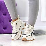 Бежевые зимние женские кроссовки с рефлективными светоотражающими вставками, фото 8