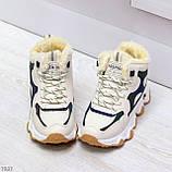 Бежевые зимние женские кроссовки с рефлективными светоотражающими вставками, фото 10