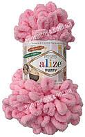 Турецкая пряжа для вязания Alize Puffy (Пуффи) пряжа вяжется руками 185 розовый.