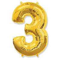 """Фольгований куля цифра """"3"""" Flexmetal Золото 14"""" 36 см"""