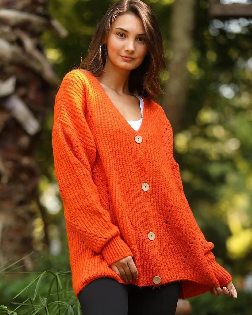 Свободный модный кардиган на пуговицах 42-46 (в расцветках)