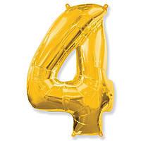 """Фольгований куля цифра """"4"""" Flexmetal Золото 14"""" 36 см"""