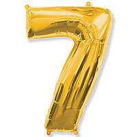 """Фольгований куля цифра """"7"""" Flexmetal Золото 14"""" 36 см"""
