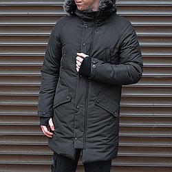 Черная зимняя мужская парка куртка Belenos