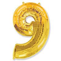 """Фольгований куля цифра """"9"""" Flexmetal Золото 14"""" 36 см"""