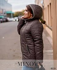 Куртка женская демисезонная с капюшоном удлиненная размеры: 52-66, фото 2