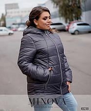 Куртка женская демисезонная с капюшоном удлиненная размеры: 52-66, фото 3