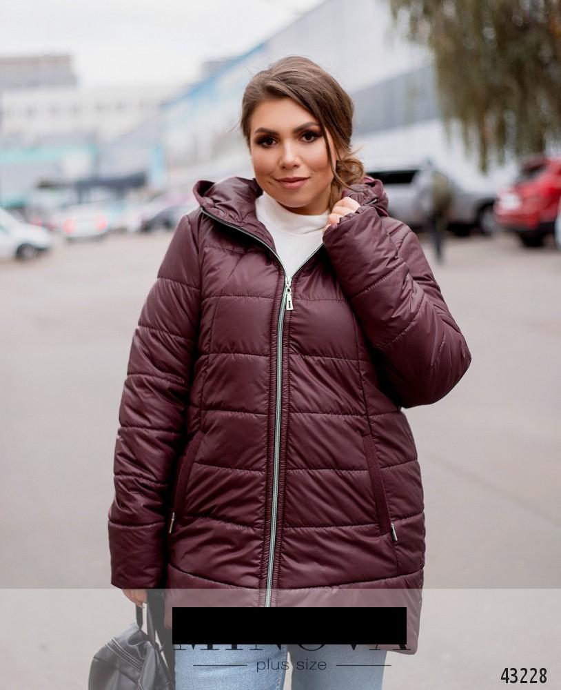 Куртка женская демисезонная с капюшоном удлиненная размеры: 52-66