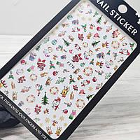 Слайдер дизайн, наклейки для ногтей новогодние, зима, снежинки, дед мороз, олени, елочка №278